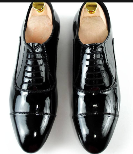 Black Full Patent Oxfords Shoes