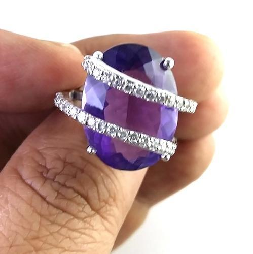 Samriddhi Creations Wedding Amethyst Diamond 14k Gold Ring, Size: 8 Us