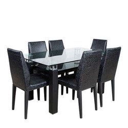 Glass Top Six Seater Dining Set