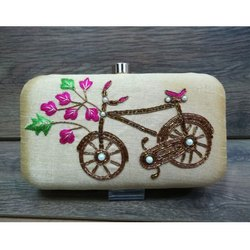 Stylish Party Wear Hand Crafted Designer Zardosi work Clutch Handbag
