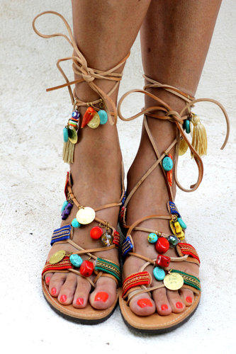 f80387a7cc0 FORMAL Leather Ladies Hellenic Ladies Greek Charms Beads Gladiator Sandals