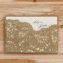 Royal Light Brown Decorative Laser Cut Wooden Wedding Card