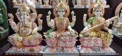 Multicolor Marble Laxmi, Ganesh, Saraswati Ji Statue
