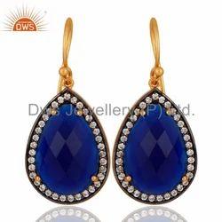 White Zircon  Blue Corundum Gemstone Earrings 925 Silver Jewelry