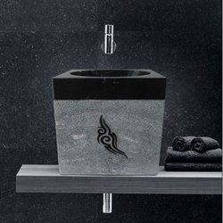 Black Marble Rough Stone Wash Basin
