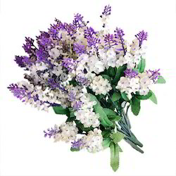 Plastic Purple, White Artificial Flower Bushes
