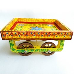 Multicolor Wooden Handpainted Cart, For Gift, 7x5.5 Inch