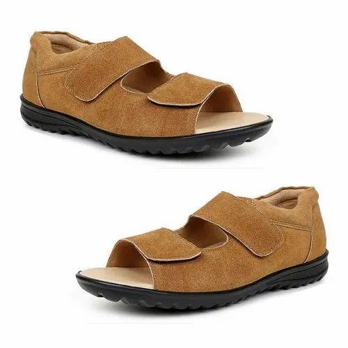d842fc99b68 Mens Suede Leather Orthopedic Diabetic Sandals