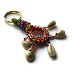 Multicolor Navratra Hand Knitted Silk Thread Mirror Cowrie Shell & Beads Keychain