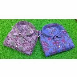 Cotton Printed Mens Party Wear Tich Button Shirt