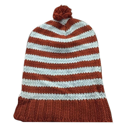 White And Brown Kids Striped Woolen Knitted Cap