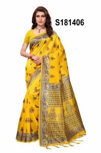 Mysore Silk Saree With Designer Look, 6.3 M With Blouse Piece