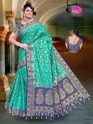 Assorted Zari Raw Silk Jaal Rich Pallu, 6.3 M (with Blouse Piece)