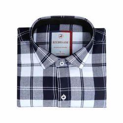Mens Solid Black Check Shirt