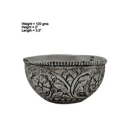 White Metal Silver Plated Wax Filling Candle Bowl