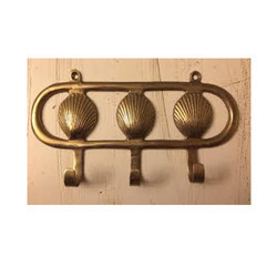 Vintage Solid Brass Seashell Wall Hook Key Holder