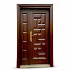 Brown Hinged Designer Steel Door, Thickness: 20-25 Mm, Single