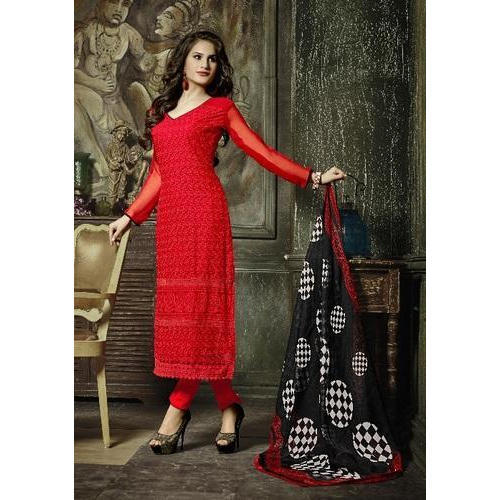 fd05254a66f994 Ladies Party Wear Red Semi Stitched Suit, Size: S-XXL, Rs 1750 ...