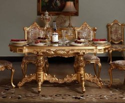 Star Wood Brown Wooden Teak Dining Table 6 Chair Golden Police for Home, Bed Size: King Size