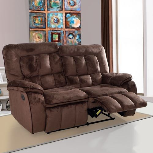 Augusta Fabric Recliner Sofa 2 Seater Chocolate