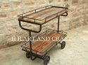 Metal And Wood Restaurant Industrial Serving Trolley With Reclaimed Vintage