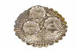 Nutristar German Silver Haldi Kum Kum Plate, Size: 5 Inch