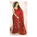 Red Synthetic Designer Saree
