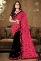 Georgette Embroidered Half And Half Pattern Designer Saree