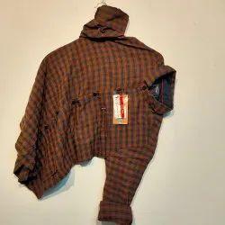 Casual Wear Collar Neck Mens Fancy Cotton Check Shirt, Machine Wash, Hand Wash
