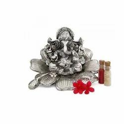Aluminium Silver Ganesha Statue