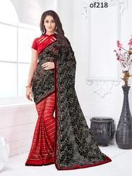 Black Net & Maroon Embroidered Saree