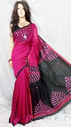 Cotton silk mirror work saree