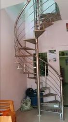 Sny Type Of Rails Polished Stainless Steel Round Staircase