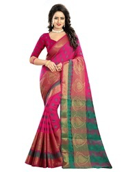 033f3ca2a9c Printed Party Wear Pink Cotton Silk Traditional Festive Wear Women s Saree