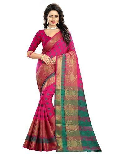da3618ae02 Printed Party Wear Pink Cotton Silk Traditional Festive Wear Women' s Saree,  6.3 m