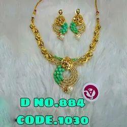 Golden Brass Gold Polish Kundan Necklace Set, Earring