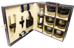 Leather Portable Bar Set (Brown) - 6 Glass