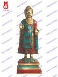 Lord Buddha Standing W/ Stone Work Statue