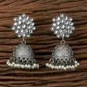 Metal Alloy White Indo Western Jhumkis With Black Plating 101227