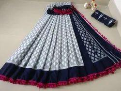 Bagru Print Pom Pom Lace Cotton Saree