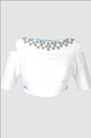 White Blouse With Golden Cutdana