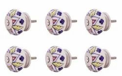 AS Artisans Set of 10 Pieces Leaf Floral Ceramic White Cabinet Knobs Furniture Handle Drawer Pull Vi