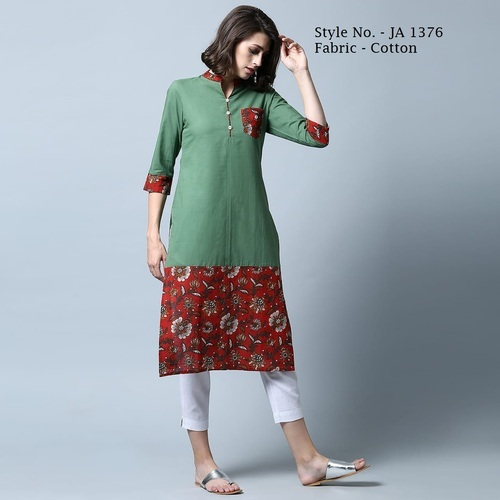 Cotton Green 3/4th Sleeve Printed Kurti