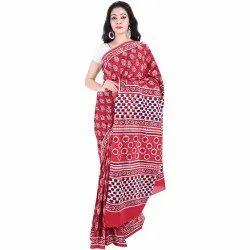 Chiffon Festive Wear Dabu Print Cotton Saree, 5.5 M (separate Blouse Piece), With Blouse Piece
