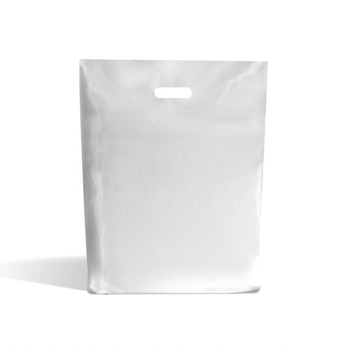 White Patch Handle Carrier Bag