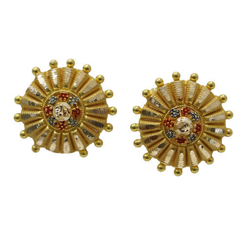 round gold stud handmade dot solid aritisan sheri by beryl disc products fullxfull il earrings small studs rose posts
