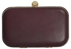 Azzra Brown Genuine Leather Evening Box Clutch