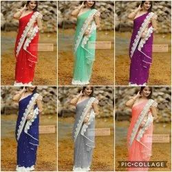 Net Saree With Embroidery Work
