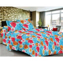 Sky Blue Printed Cotton Bed Sheet
