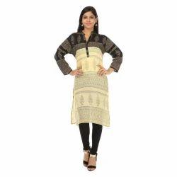 Ladies Cream & Black Jaipuri Printed Kurti